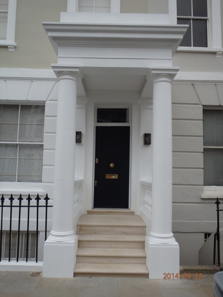 Finished portico on a private house in London