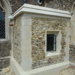 Completed extension in flint and Clipsham stone at Papworth Church, Cambridgeshire