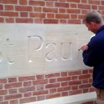 Lettering in progress at St Paul's Church, Cambridge
